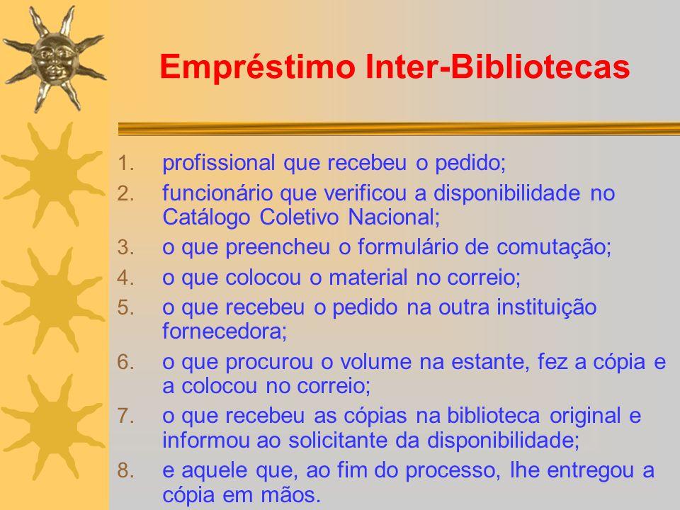 Empréstimo Inter-Bibliotecas 1. profissional que recebeu o pedido; 2. funcionário que verificou a disponibilidade no Catálogo Coletivo Nacional; 3. o