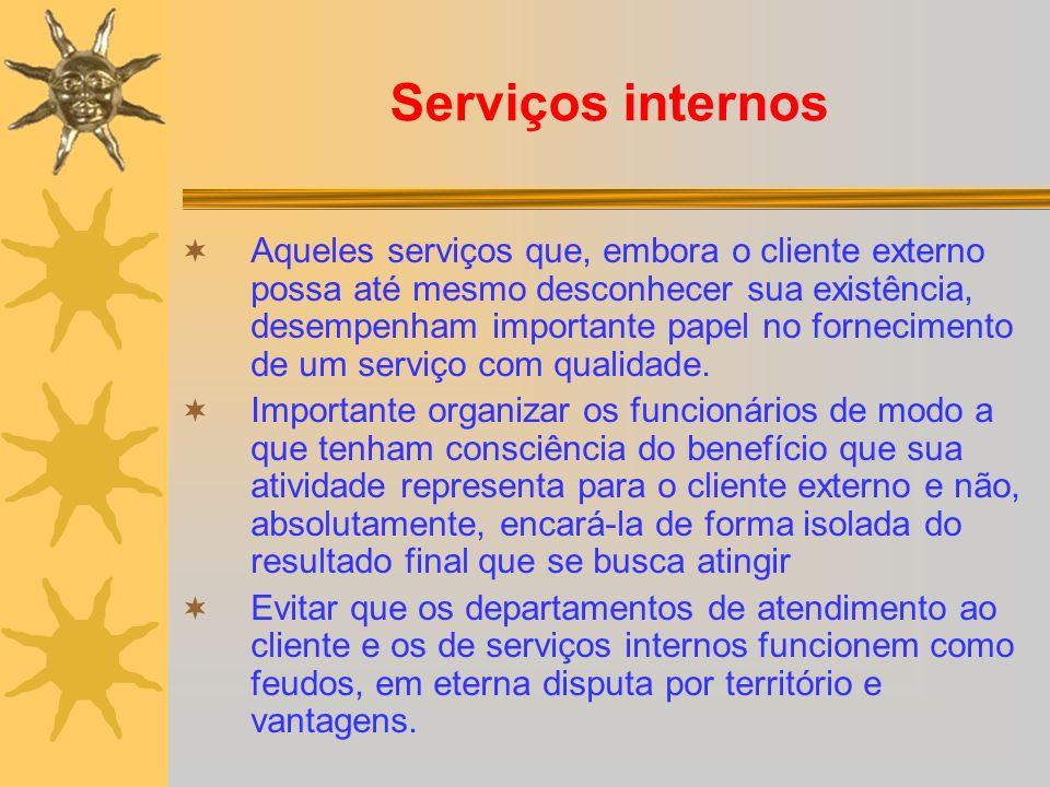 Serviços internos Aqueles serviços que, embora o cliente externo possa até mesmo desconhecer sua existência, desempenham importante papel no fornecime