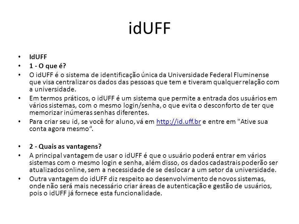 idUFF 3 - Quais os sistemas que estão utilizando o idUFF.