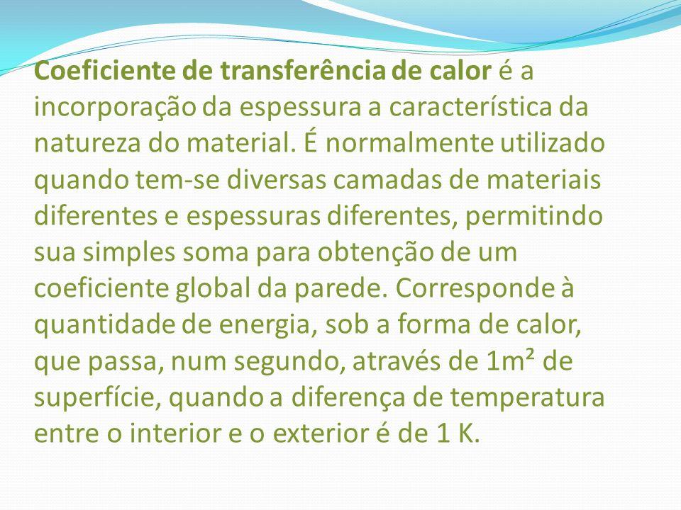 Coeficiente de transferência de calor é a incorporação da espessura a característica da natureza do material. É normalmente utilizado quando tem-se di