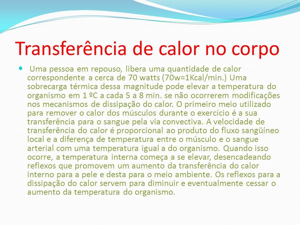 Transferência de calor no corpo Uma pessoa em repouso, libera uma quantidade de calor correspondente a cerca de 70 watts (70w=1Kcal/min.) Uma sobrecar