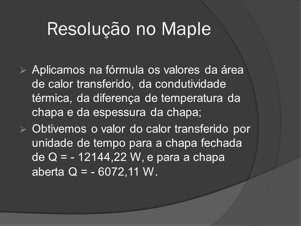 Resolução no Maple Aplicamos na fórmula os valores da área de calor transferido, da condutividade térmica, da diferença de temperatura da chapa e da e