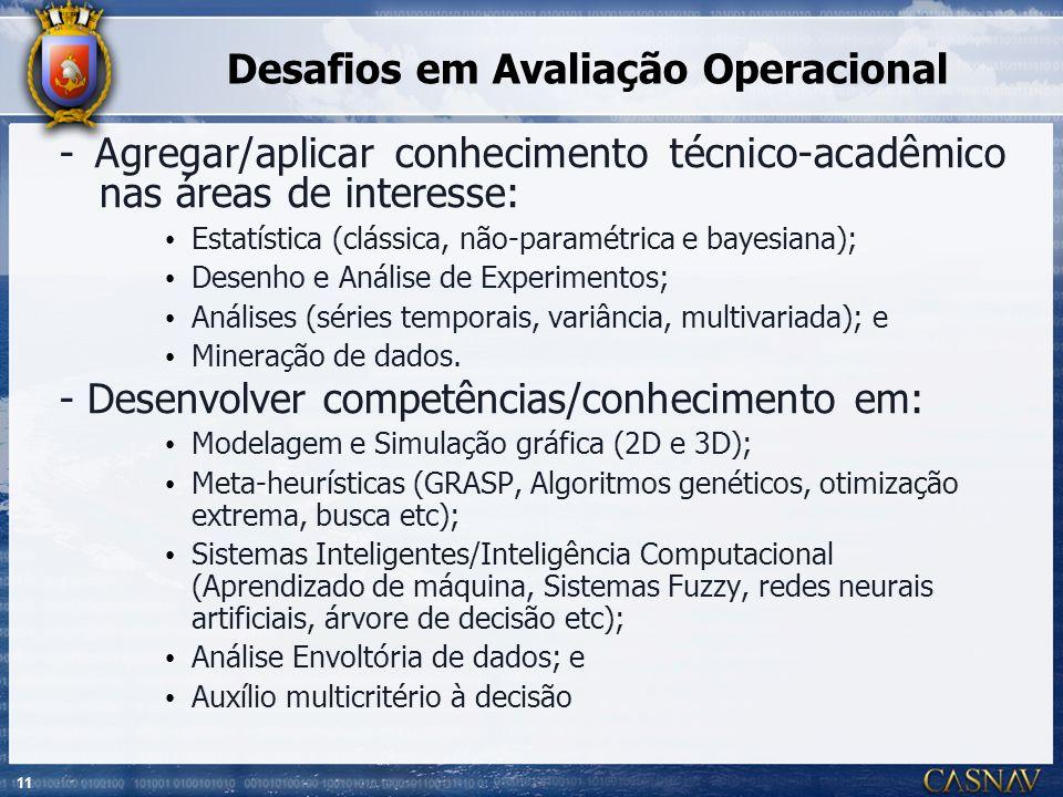 11 Desafios em Avaliação Operacional - Agregar/aplicar conhecimento técnico-acadêmico nas áreas de interesse: Estatística (clássica, não-paramétrica e