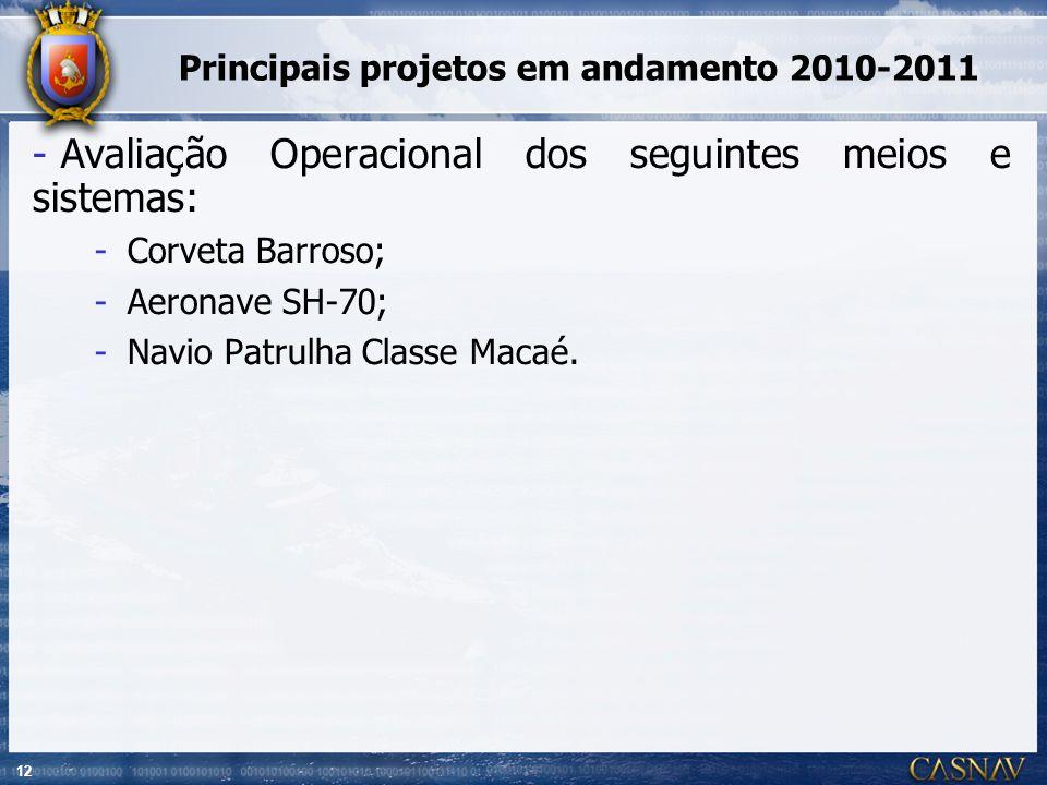 12 Principais projetos em andamento 2010-2011 - Avaliação Operacional dos seguintes meios e sistemas: -Corveta Barroso; -Aeronave SH-70; -Navio Patrul
