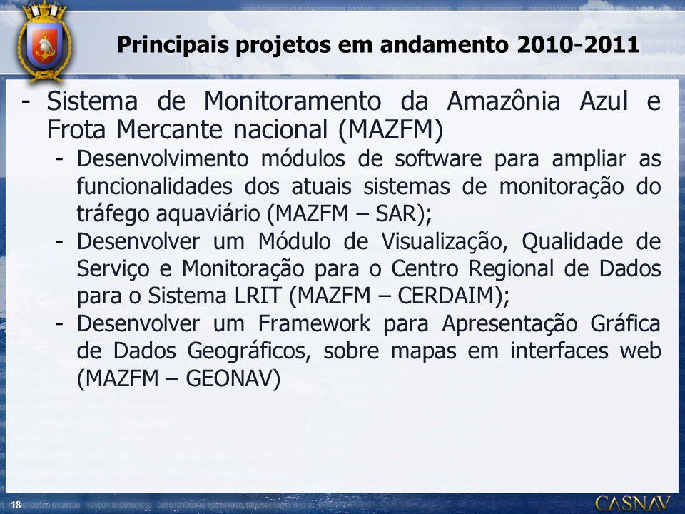 18 Principais projetos em andamento 2010-2011 -Sistema de Monitoramento da Amazônia Azul e Frota Mercante nacional (MAZFM) -Desenvolvimento módulos de