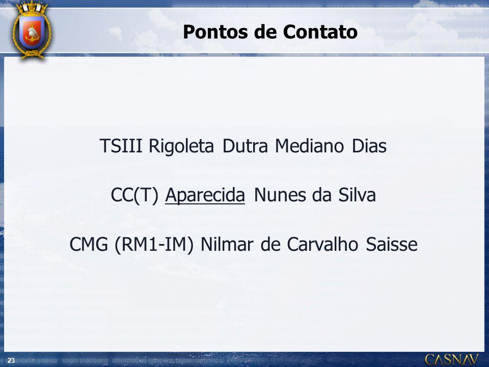23 Pontos de Contato TSIII Rigoleta Dutra Mediano Dias CC(T) Aparecida Nunes da Silva CMG (RM1-IM) Nilmar de Carvalho Saisse