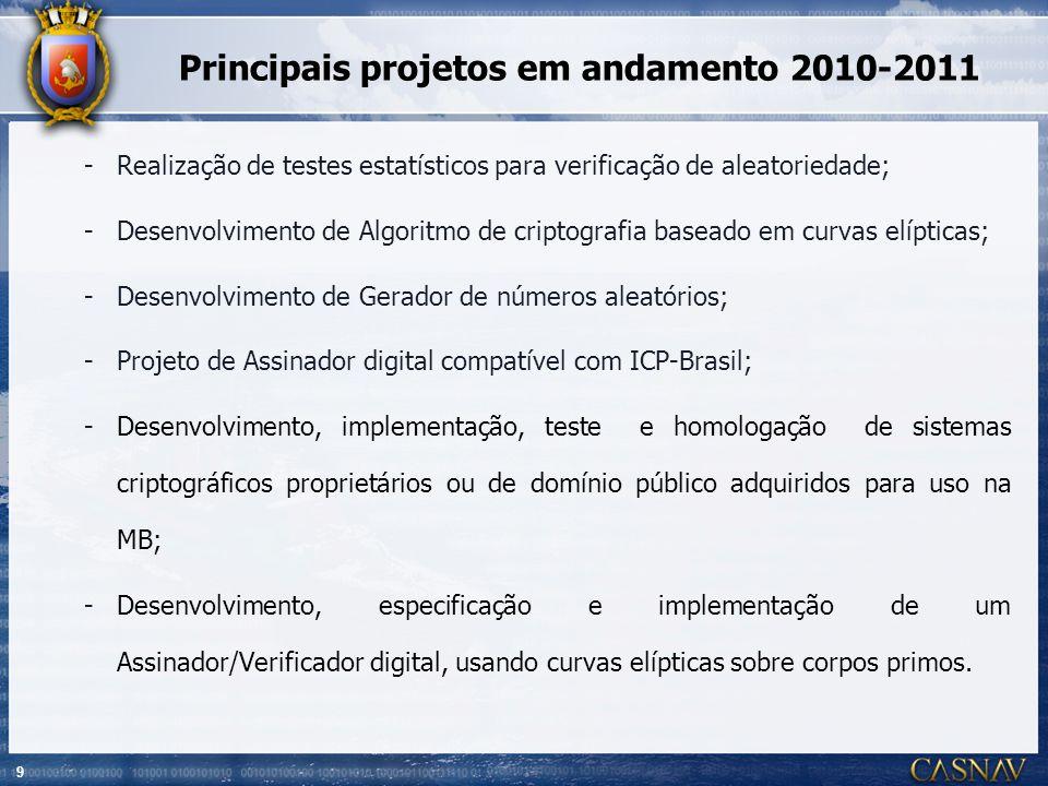 9 Principais projetos em andamento 2010-2011 -Realização de testes estatísticos para verificação de aleatoriedade; -Desenvolvimento de Algoritmo de cr