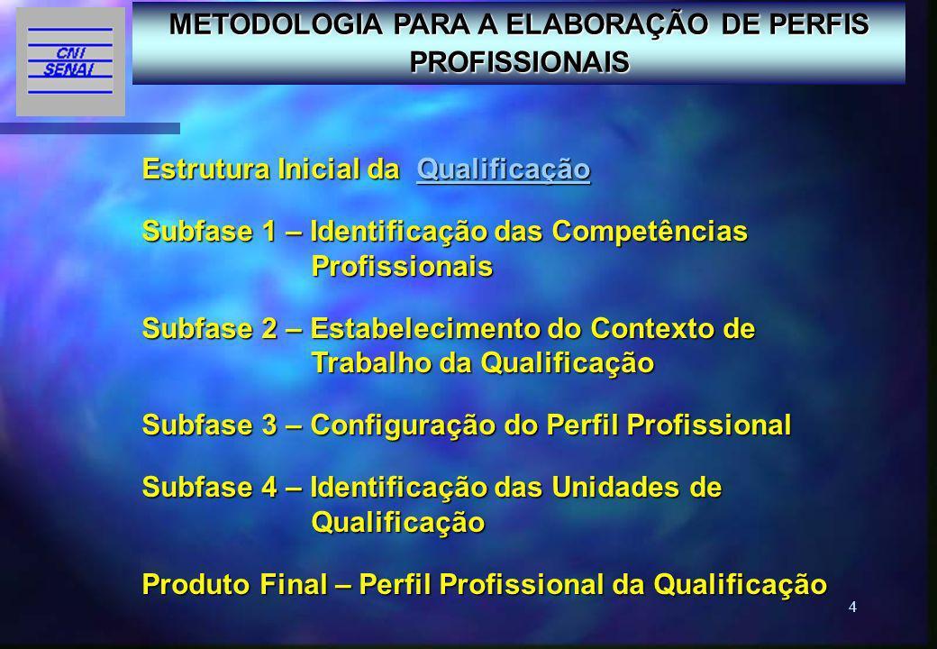 15 Subfase 4 – Identificação das Unidades de Qualificação Uma vez estabelecido o Perfil Profissional, são analisadas as Unidades de Competência, com o objetivo de detectar aquelas que, isoladamente ou agrupadas com outras, constituam uma terminalidade.