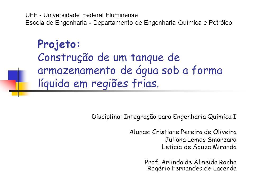 Projeto: Construção de um tanque de armazenamento de água sob a forma líquida em regiões frias. Disciplina: Integração para Engenharia Química I Aluna