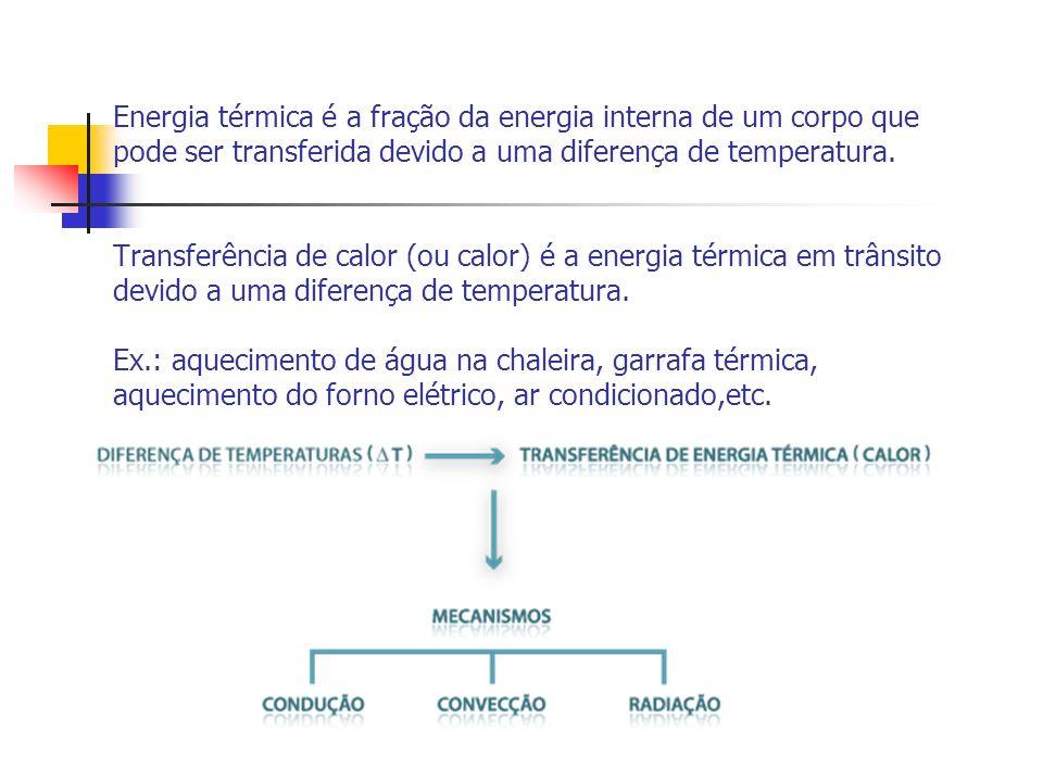 Energia térmica é a fração da energia interna de um corpo que pode ser transferida devido a uma diferença de temperatura. Transferência de calor (ou c