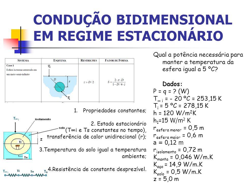 CONDUÇÃO BIDIMENSIONAL EM REGIME ESTACIONÁRIO Qual a potência necessária para manter a temperatura da esfera igual a 5 ºC? Dados: P = q = ? (W) T i =