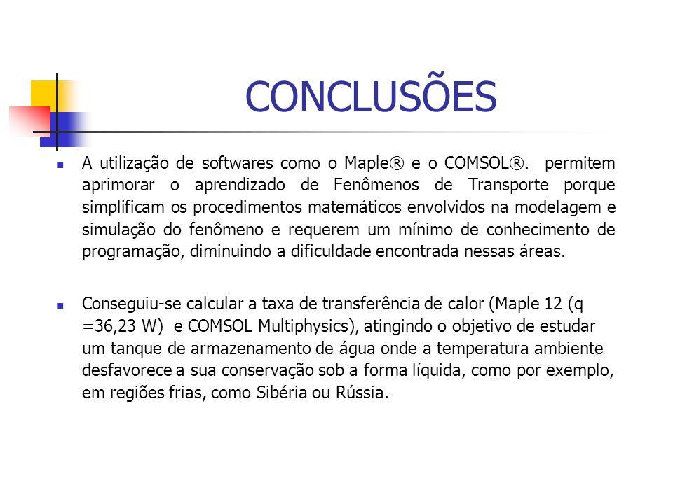 CONCLUSÕES A utilização de softwares como o Maple® e o COMSOL®. permitem aprimorar o aprendizado de Fenômenos de Transporte porque simplificam os proc