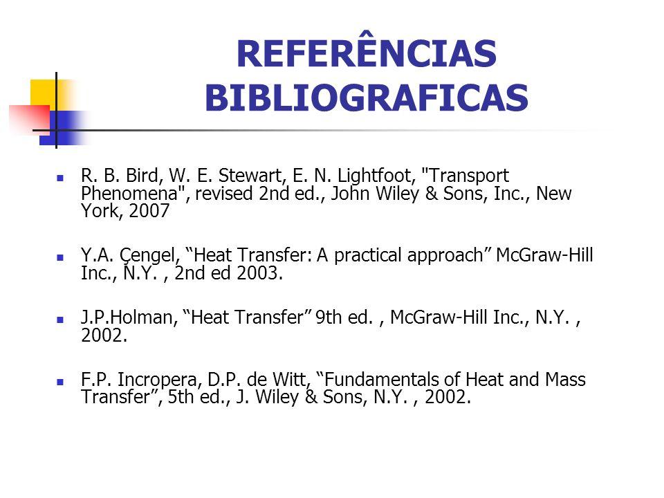 REFERÊNCIAS BIBLIOGRAFICAS R. B. Bird, W. E. Stewart, E. N. Lightfoot,
