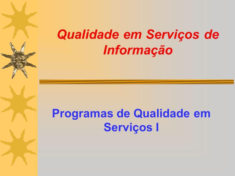 Qualidade em Serviços de Informação Programas de Qualidade em Serviços I