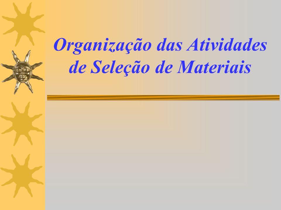 Organização das Atividades de Seleção de Materiais