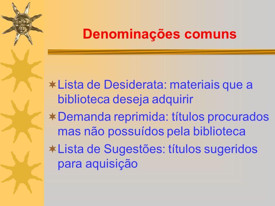 Denominações comuns Lista de Desiderata: materiais que a biblioteca deseja adquirir Demanda reprimida: títulos procurados mas não possuídos pela bibli