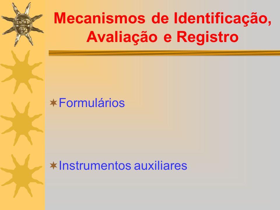 Mecanismos de Identificação, Avaliação e Registro Formulários Instrumentos auxiliares