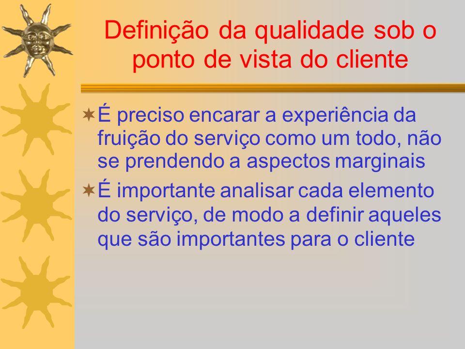 Definição da qualidade sob o ponto de vista do cliente É preciso encarar a experiência da fruição do serviço como um todo, não se prendendo a aspectos marginais É importante analisar cada elemento do serviço, de modo a definir aqueles que são importantes para o cliente