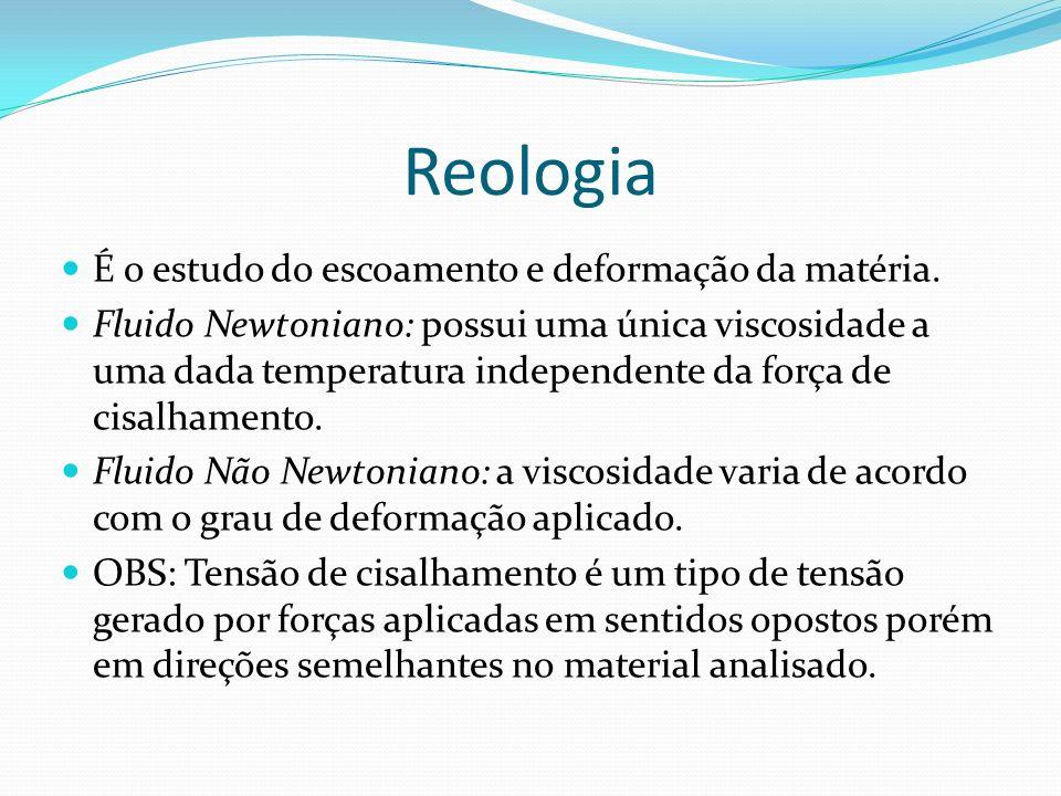 Reologia É o estudo do escoamento e deformação da matéria. Fluido Newtoniano: possui uma única viscosidade a uma dada temperatura independente da forç