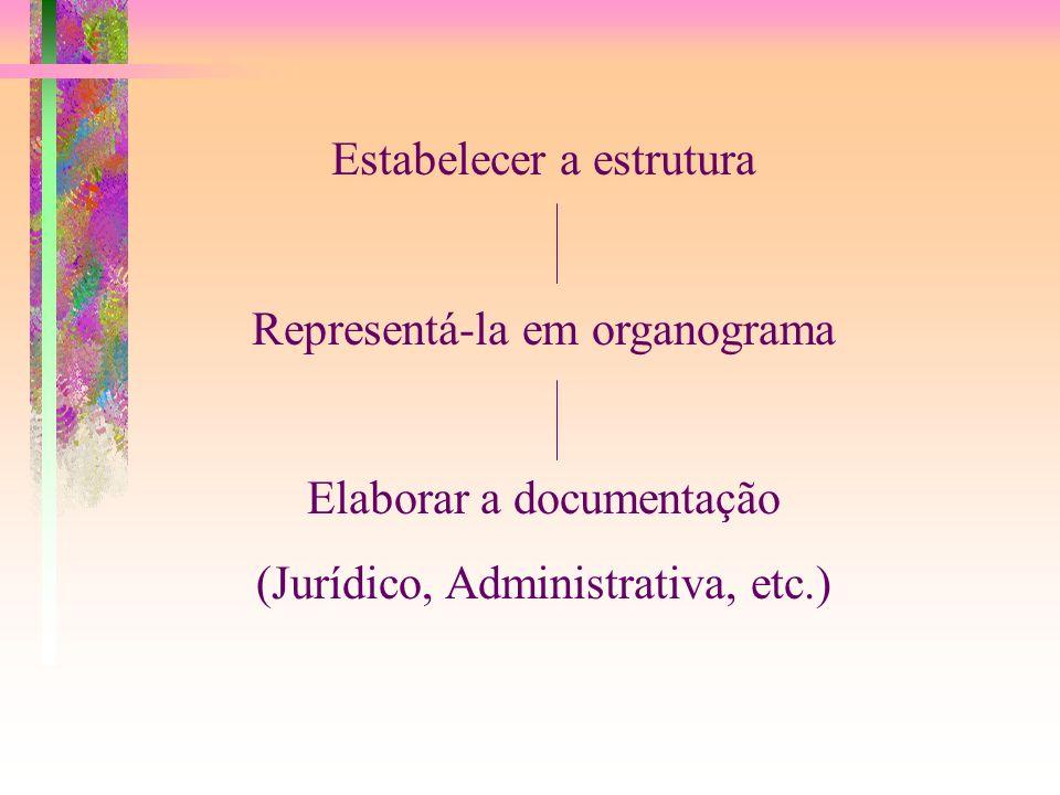 Estabelecer a estrutura Representá-la em organograma Elaborar a documentação (Jurídico, Administrativa, etc.)