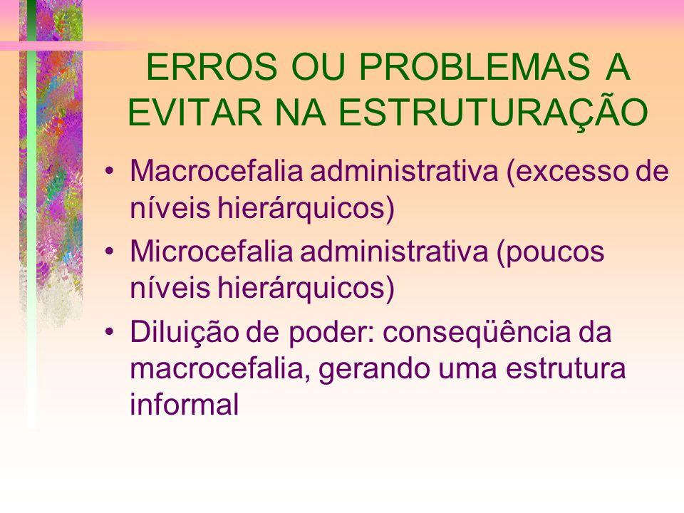 ERROS OU PROBLEMAS A EVITAR NA ESTRUTURAÇÃO Macrocefalia administrativa (excesso de níveis hierárquicos) Microcefalia administrativa (poucos níveis hi