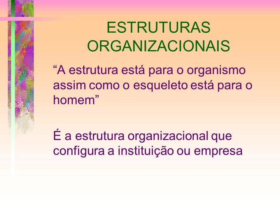 ESTRUTURAS ORGANIZACIONAIS A estrutura está para o organismo assim como o esqueleto está para o homem É a estrutura organizacional que configura a ins