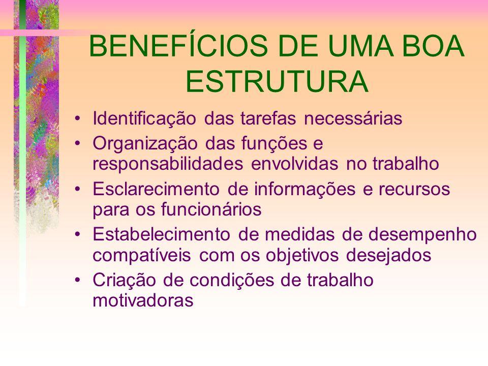 BENEFÍCIOS DE UMA BOA ESTRUTURA Identificação das tarefas necessárias Organização das funções e responsabilidades envolvidas no trabalho Esclareciment