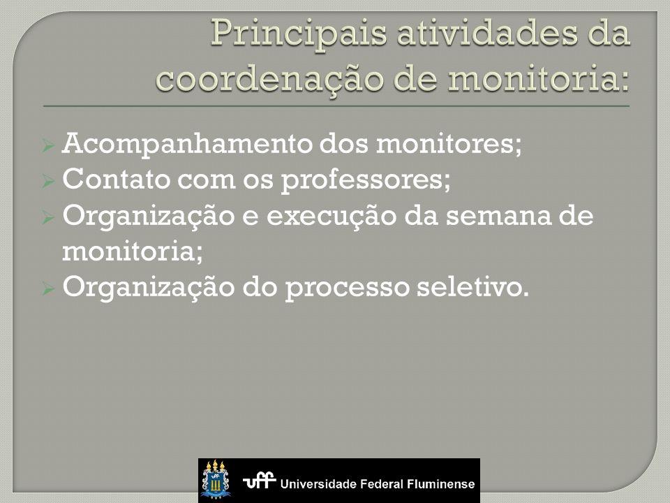 Acompanhamento dos monitores; Contato com os professores; Organização e execução da semana de monitoria; Organização do processo seletivo.