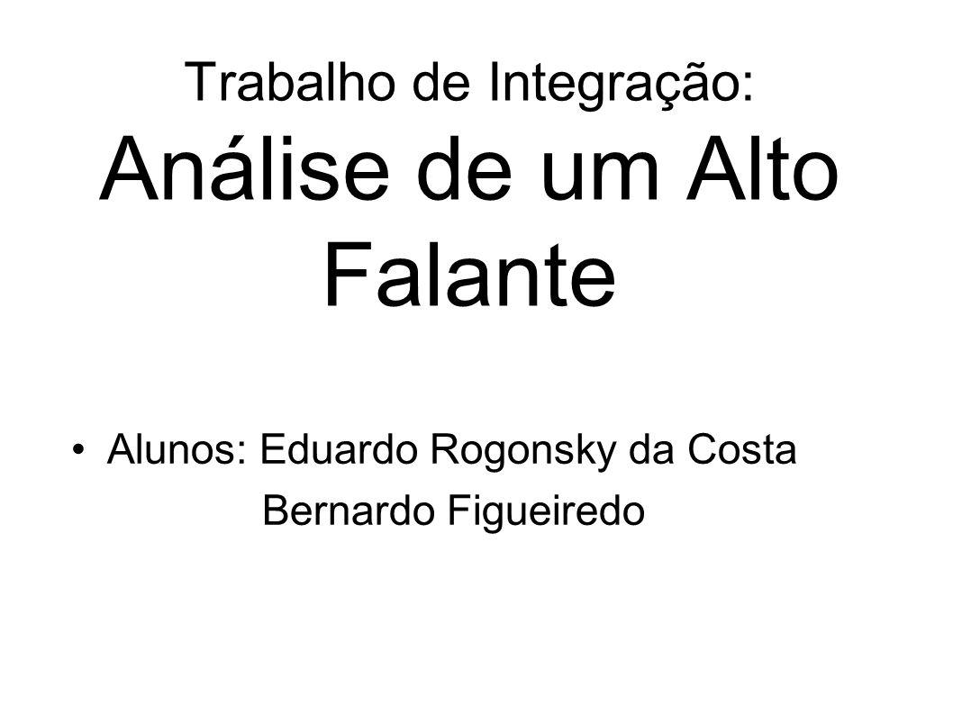 Trabalho de Integração: Análise de um Alto Falante Alunos: Eduardo Rogonsky da Costa Bernardo Figueiredo