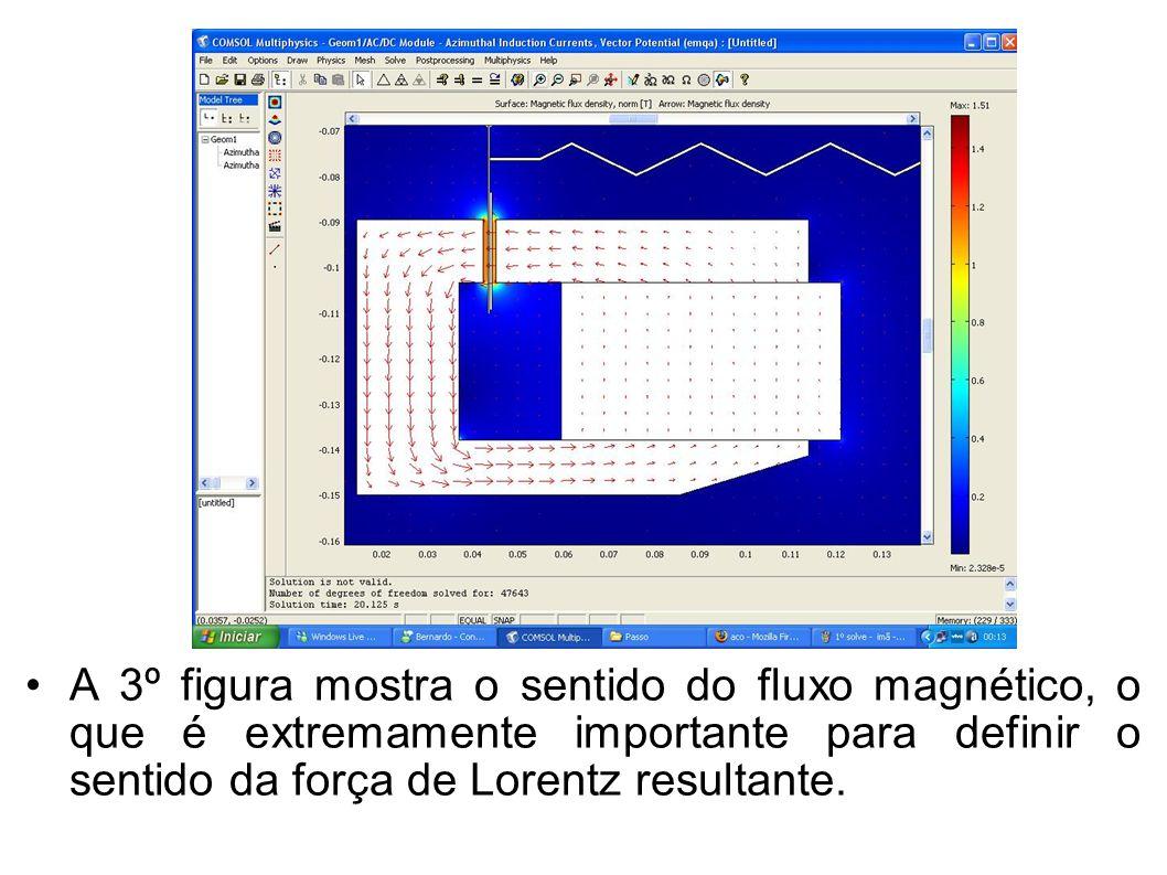 A 3º figura mostra o sentido do fluxo magnético, o que é extremamente importante para definir o sentido da força de Lorentz resultante.