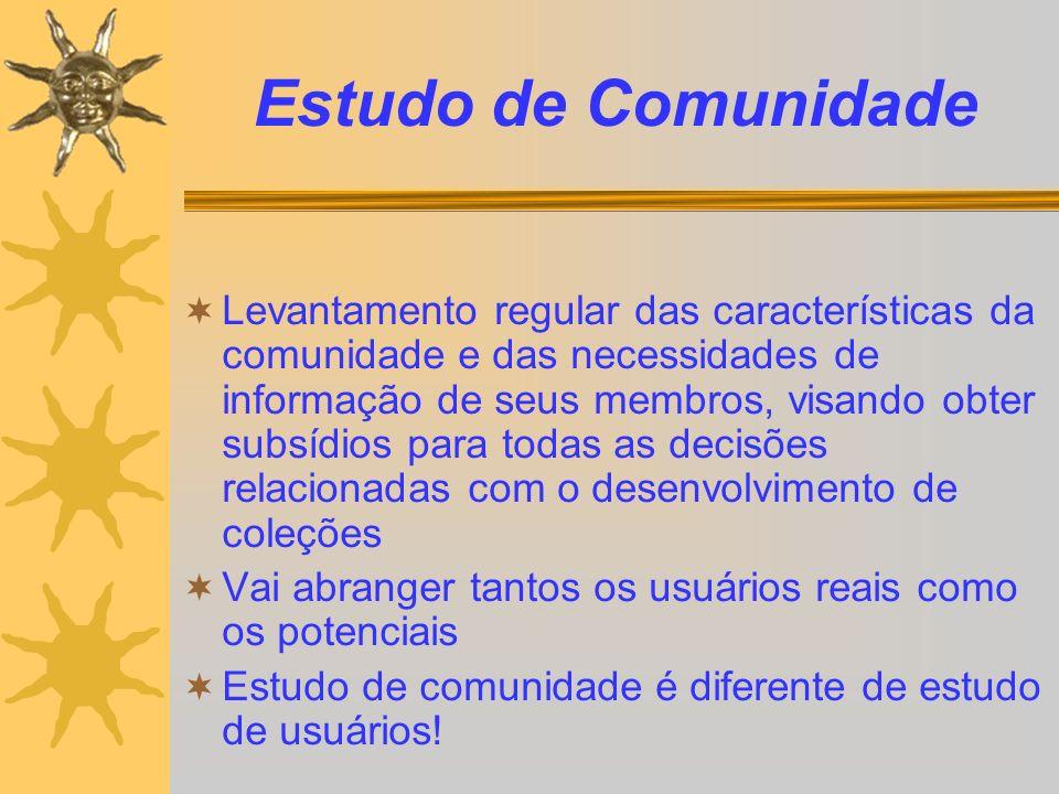 Estudo de Comunidade Levantamento regular das características da comunidade e das necessidades de informação de seus membros, visando obter subsídios
