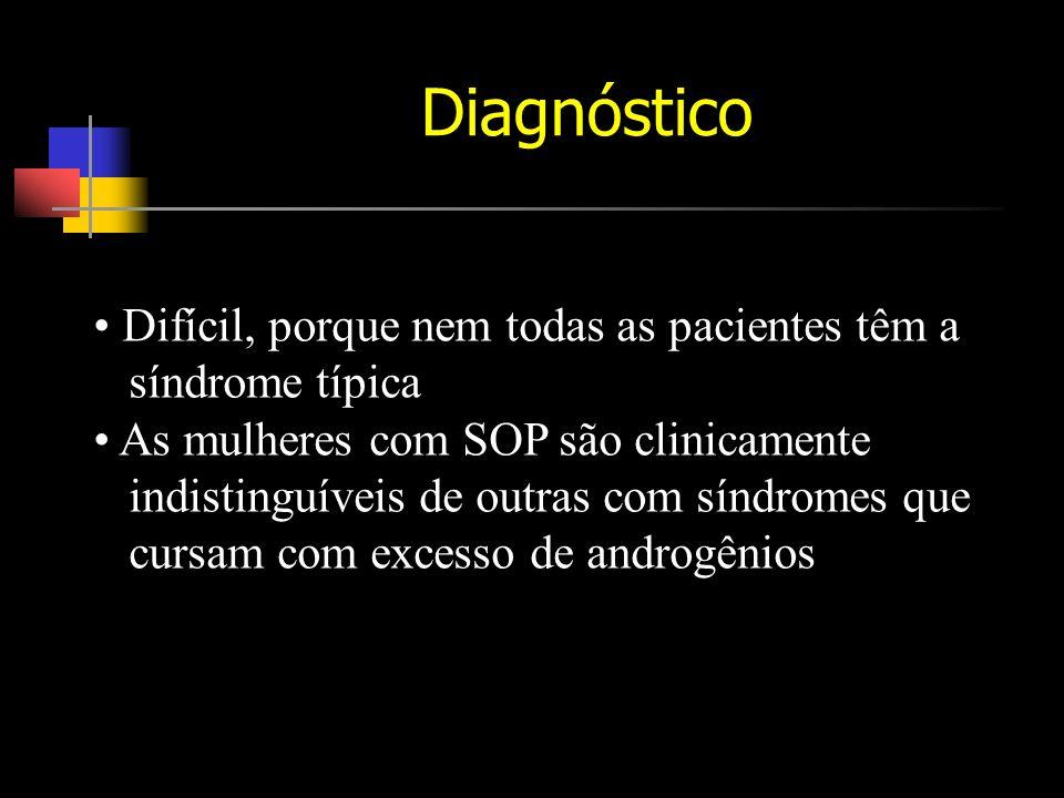 Diagnóstico Difícil, porque nem todas as pacientes têm a síndrome típica As mulheres com SOP são clinicamente indistinguíveis de outras com síndromes que cursam com excesso de androgênios
