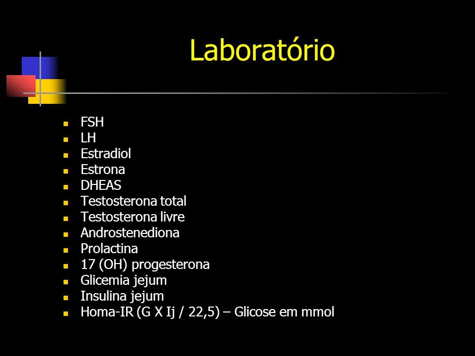Laboratório FSH LH Estradiol Estrona DHEAS Testosterona total Testosterona livre Androstenediona Prolactina 17 (OH) progesterona Glicemia jejum Insulina jejum Homa-IR (G X Ij / 22,5) – Glicose em mmol
