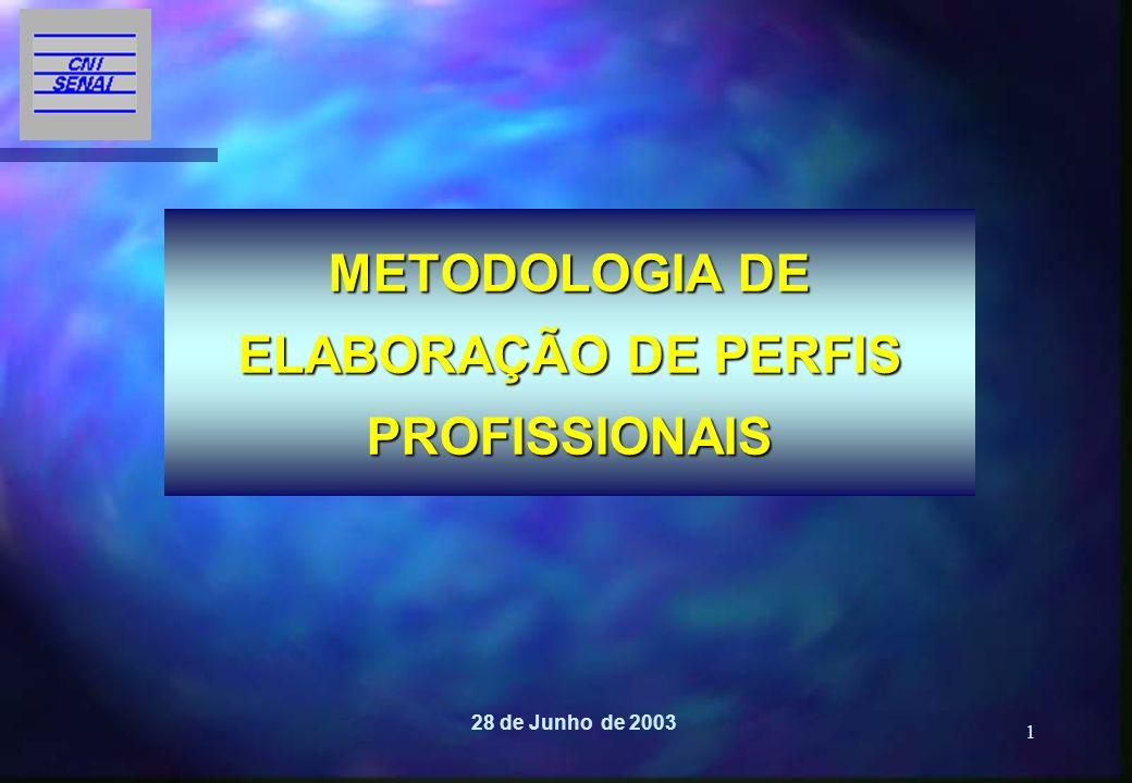 1 METODOLOGIA DE ELABORAÇÃO DE PERFIS PROFISSIONAIS 28 de Junho de 2003