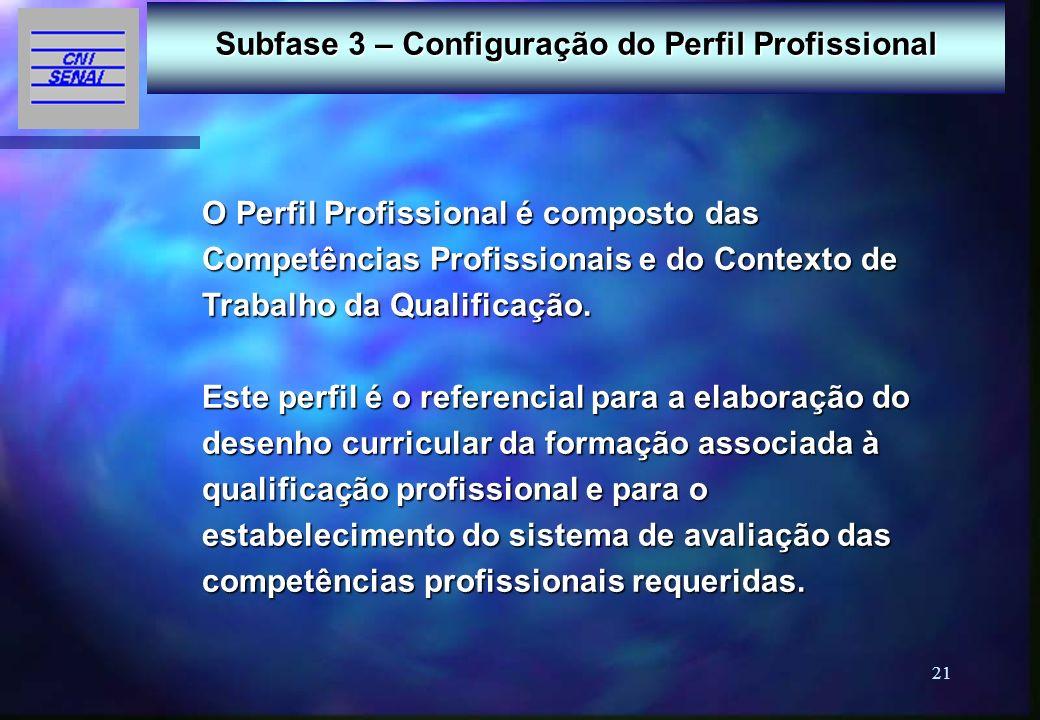21 Subfase 3 – Configuração do Perfil Profissional O Perfil Profissional é composto das Competências Profissionais e do Contexto de Trabalho da Qualif