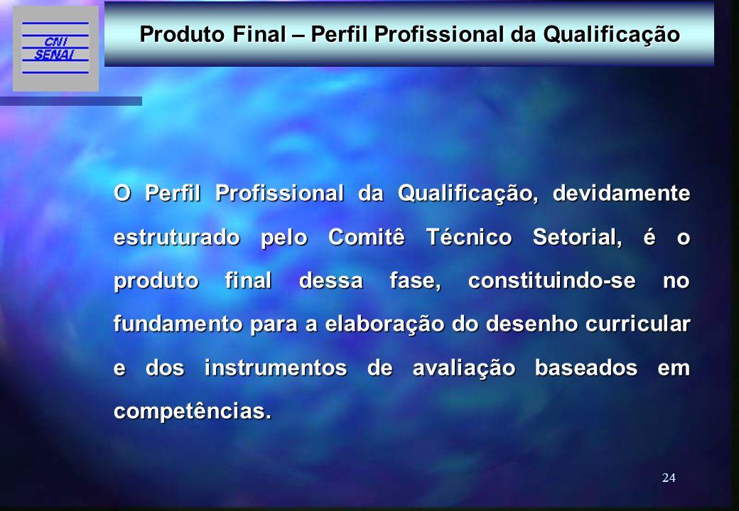 24 Produto Final – Perfil Profissional da Qualificação O Perfil Profissional da Qualificação, devidamente estruturado pelo Comitê Técnico Setorial, é