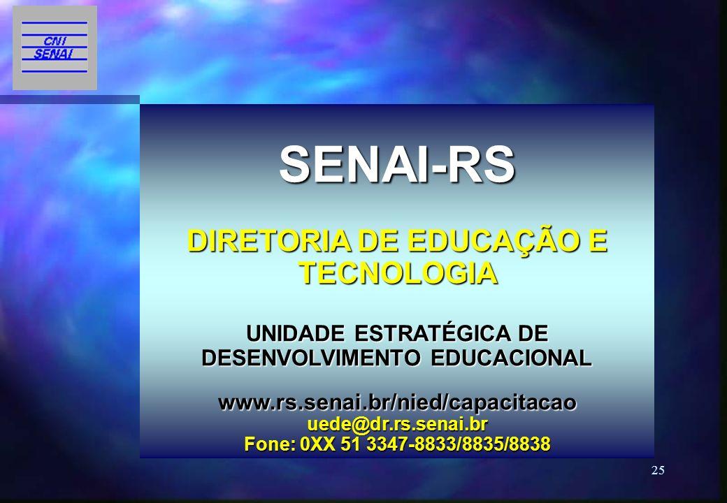 25 SENAI-RS DIRETORIA DE EDUCAÇÃO E TECNOLOGIA UNIDADE ESTRATÉGICA DE DESENVOLVIMENTO EDUCACIONAL www.rs.senai.br/nied/capacitacao uede@dr.rs.senai.br