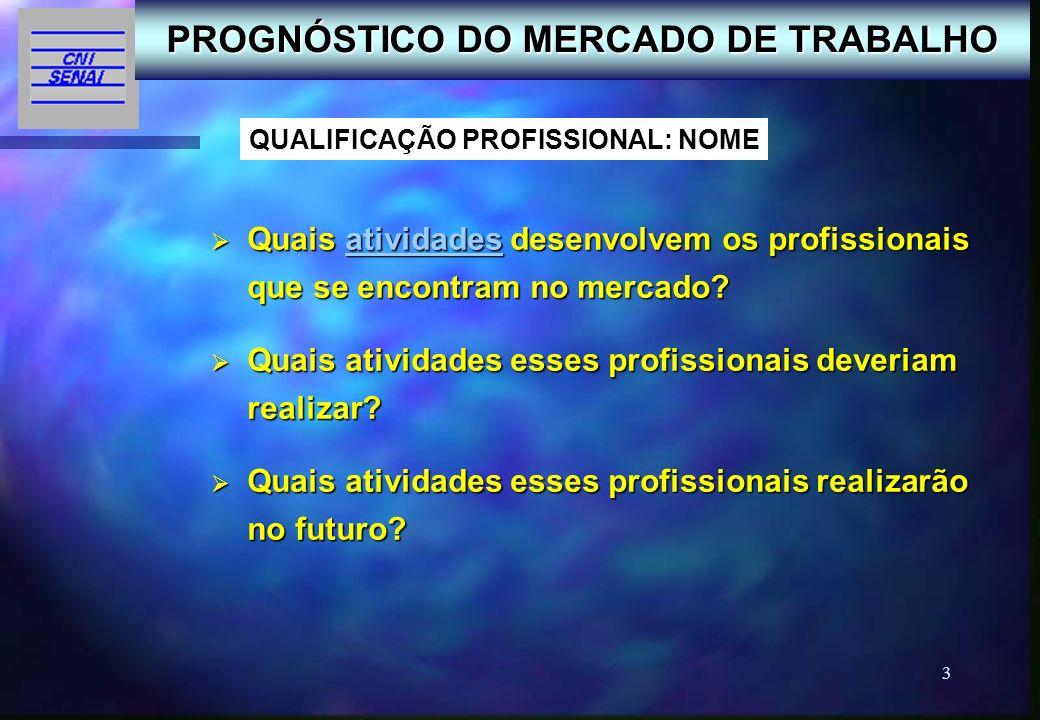 3 Quais atividades desenvolvem os profissionais que se encontram no mercado? Quais atividades desenvolvem os profissionais que se encontram no mercado