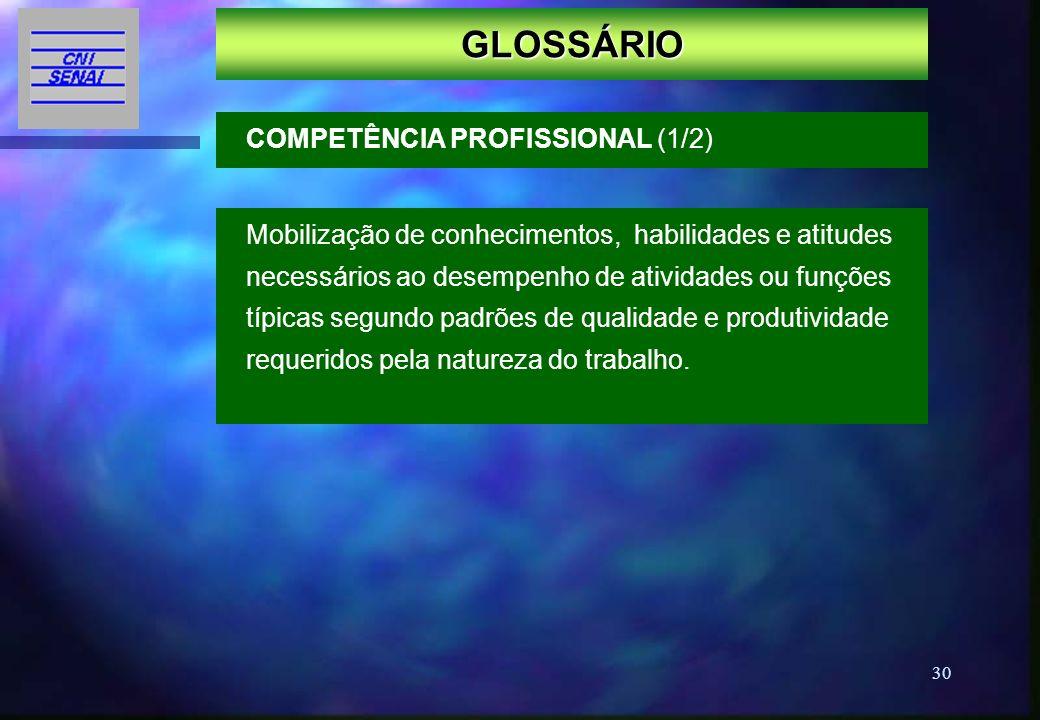 30 GLOSSÁRIO Mobilização de conhecimentos, habilidades e atitudes necessários ao desempenho de atividades ou funções típicas segundo padrões de qualid