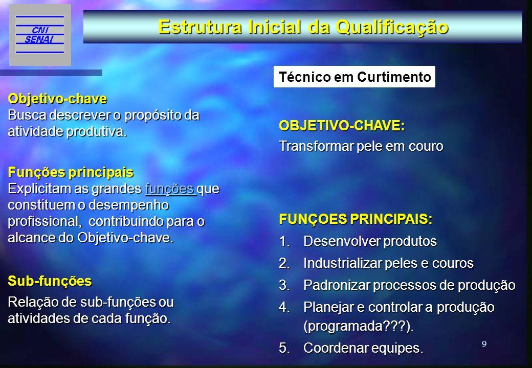 9 Estrutura Inicial da Qualificação Objetivo-chave Busca descrever o propósito da atividade produtiva. Funções principais Funções principais Explicita