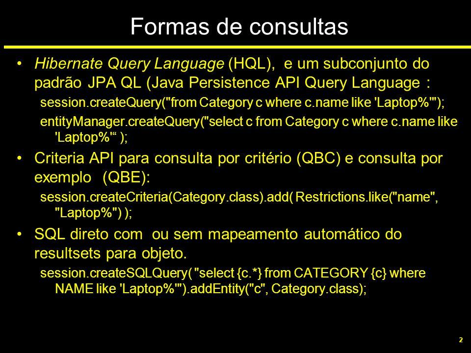 2 Formas de consultas Hibernate Query Language (HQL), e um subconjunto do padrão JPA QL (Java Persistence API Query Language : session.createQuery(