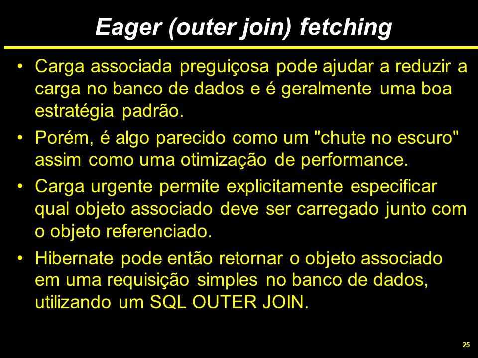 25 Eager (outer join) fetching Carga associada preguiçosa pode ajudar a reduzir a carga no banco de dados e é geralmente uma boa estratégia padrão. Po