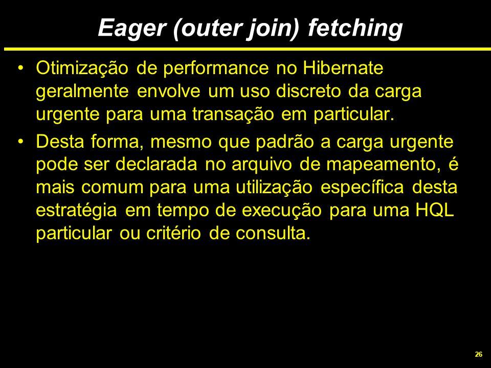26 Eager (outer join) fetching Otimização de performance no Hibernate geralmente envolve um uso discreto da carga urgente para uma transação em partic