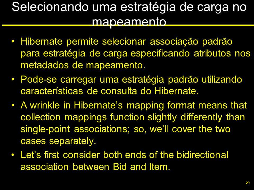 29 Selecionando uma estratégia de carga no mapeamento Hibernate permite selecionar associação padrão para estratégia de carga especificando atributos