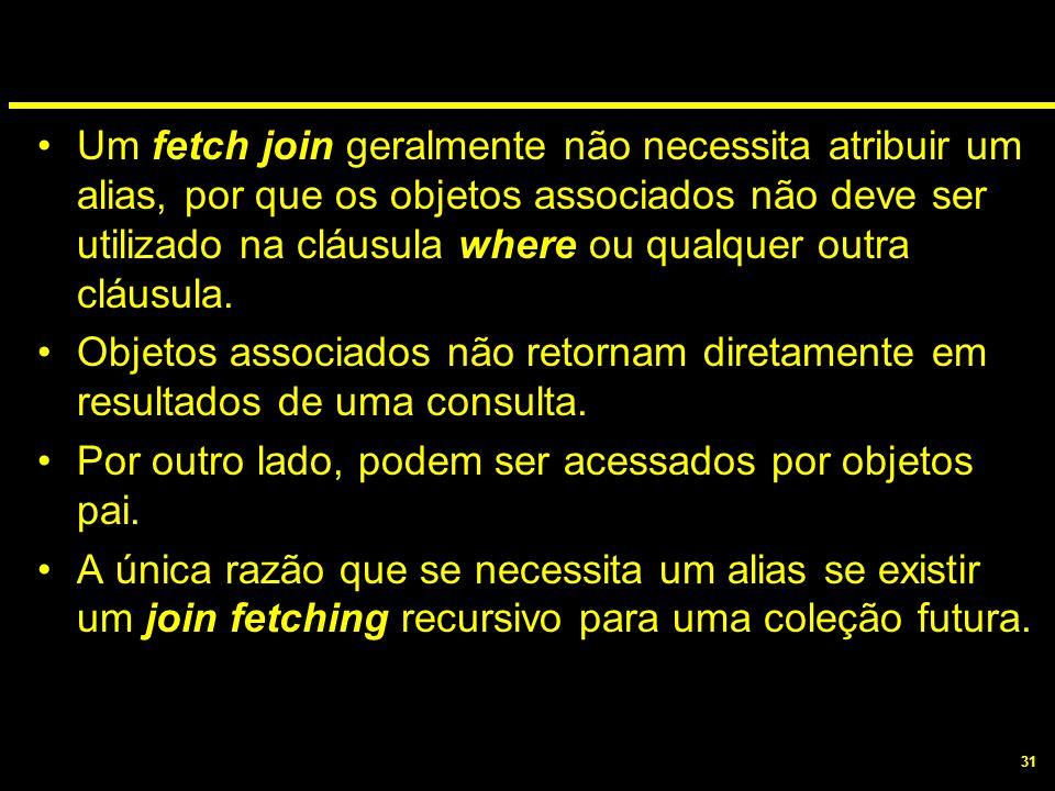 31 Um fetch join geralmente não necessita atribuir um alias, por que os objetos associados não deve ser utilizado na cláusula where ou qualquer outra