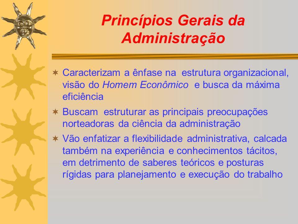 Princípios Gerais da Administração Caracterizam a ênfase na estrutura organizacional, visão do Homem Econômico e busca da máxima eficiência Buscam est