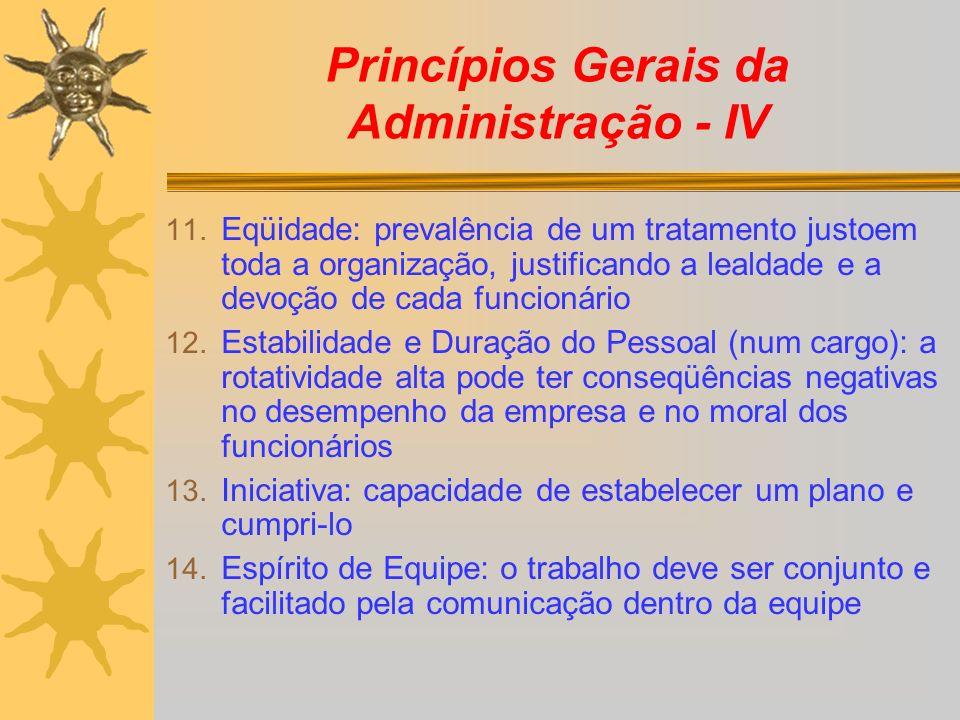 Princípios Gerais da Administração - IV 11. Eqüidade: prevalência de um tratamento justoem toda a organização, justificando a lealdade e a devoção de