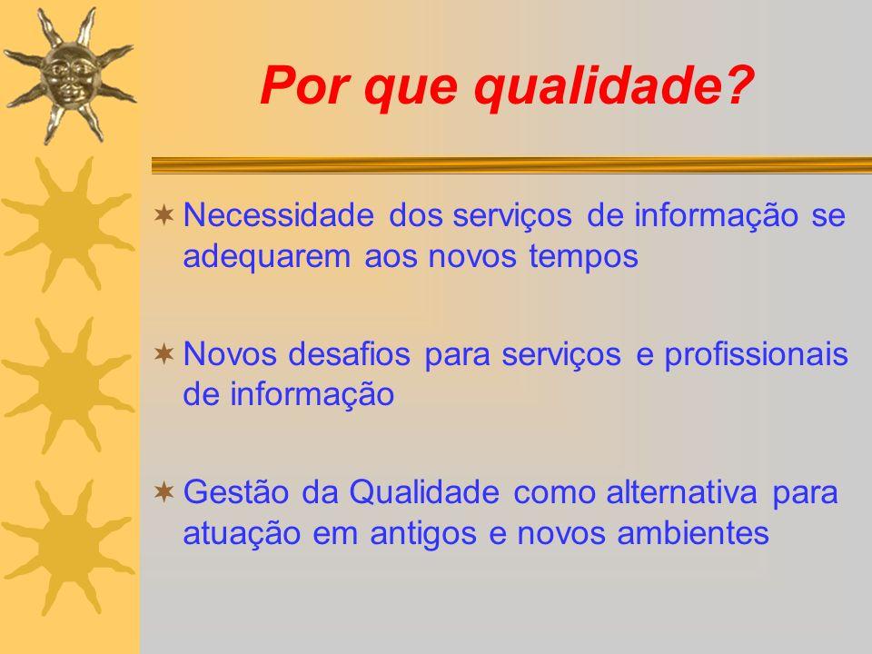 Por que qualidade? Necessidade dos serviços de informação se adequarem aos novos tempos Novos desafios para serviços e profissionais de informação Ges