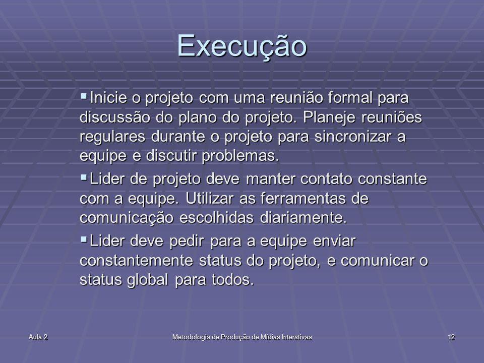 Aula 2Metodologia de Produção de Mídias Interativas12 Execução Inicie o projeto com uma reunião formal para discussão do plano do projeto. Planeje reu