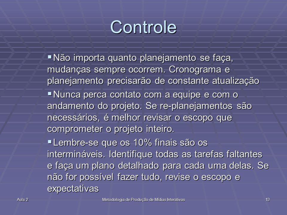Aula 2Metodologia de Produção de Mídias Interativas13 Controle Não importa quanto planejamento se faça, mudanças sempre ocorrem. Cronograma e planejam